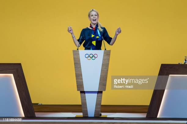 Anna Konig Jerlmyr Mayor of Stockholm sings a song of ABBA during IOC Announcement at SwissTech Convention Center on June 24 2019 in Lausanne...