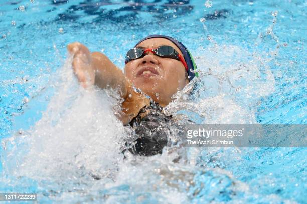 Anna Konishi competes in the Women's 200m Backstroke final on day seven of the 97th Japan Swimming Championships at the Tokyo Aquatics Centre on...