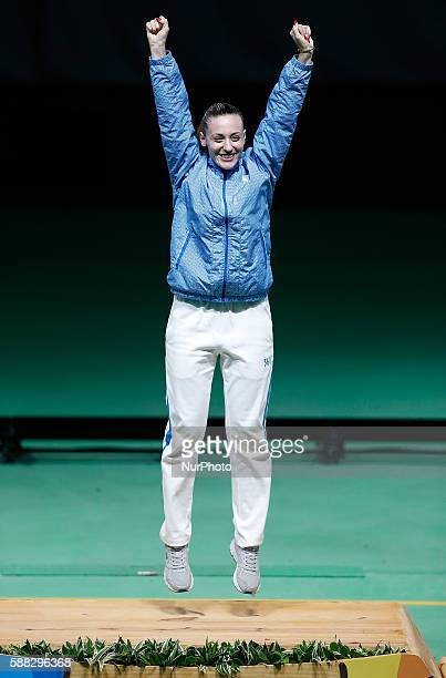 Anna Korakaki of Greece celebrates during the awarding ceremony of women's 25m pistol final of shooting at the 2016 Rio Olympic Games in Rio de...