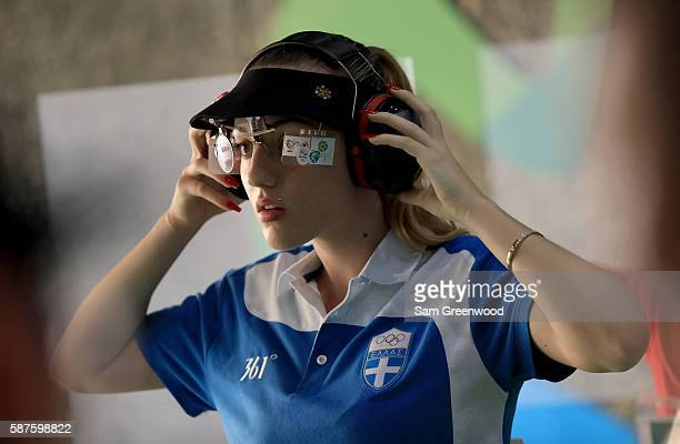 Anna Korakaki of Greece competes in the 25m Pistol competition on Day 4 of the Rio 2016 Olympic Games at the Olympic Shooting Centre on August 9 2016...