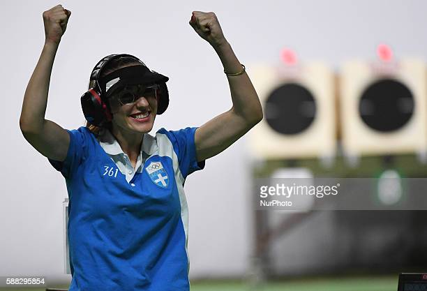 Anna Korakaki of Greece reacts after the women's 25m pistol final of shooting at the 2016 Rio Olympic Games in Rio de Janeiro Brazil on Aug 9 2016...