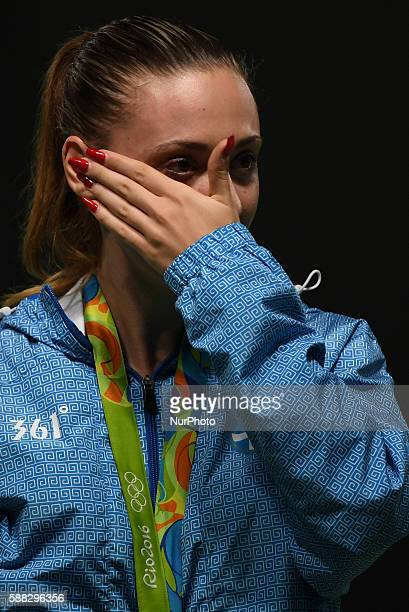Anna Korakaki of Greece reacts during the awarding ceremony of women's 25m pistol final of shooting at the 2016 Rio Olympic Games in Rio de Janeiro...