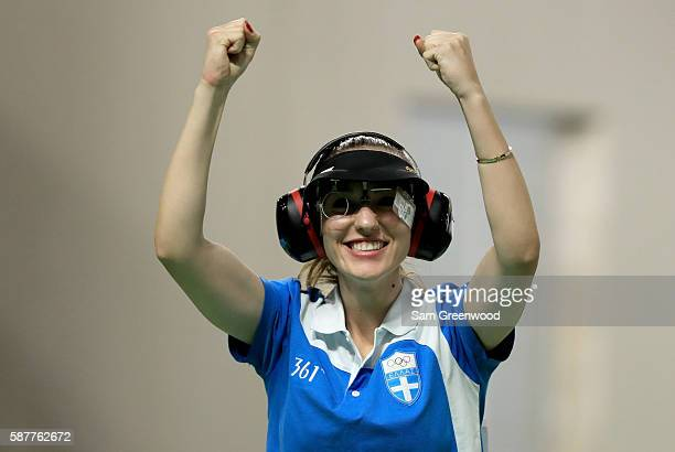 Anna Korakaki of Greece reacts winning the Women's 25m pistol event on Day 4 of the Rio 2016 Olympic Games at the Olympic Shooting Centre on August 9...
