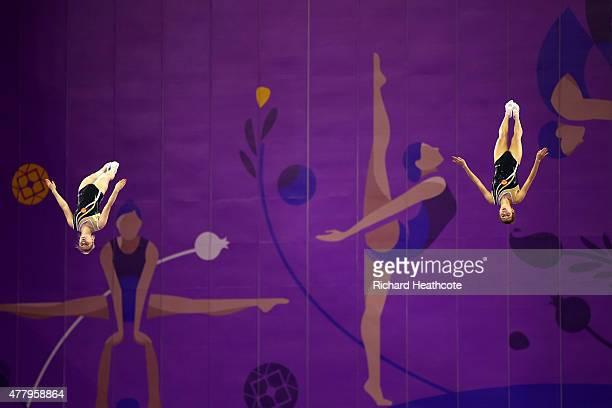 Anna Kornetskaya and Yana Pavlova of Russia compete during the Women's Gymnastics Trampoline synchronised final on day nine of the Baku 2015 European...