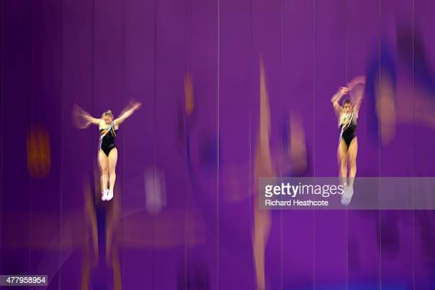 Anna Kornetskaya and Yana Pavlova of Russia compete in the Women's Synchronised Gymnastics Trampoline Final during day nine of the Baku 2015 European...