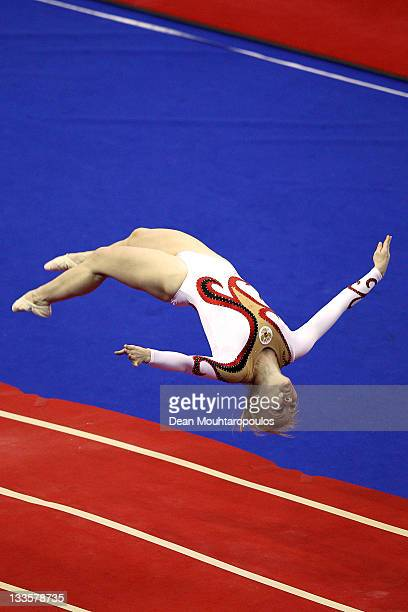 Anna Korobeynikova of Russia competes in the Tumbling Women Team final during the 28th Trampoline and Tumbling World Championships at National Indoor...