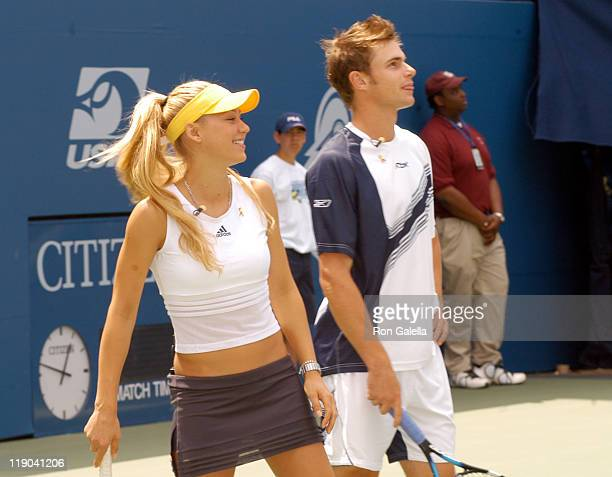 Anna Kournikova and Andy Roddick during 2003 US Open Arthur Ashe Kids Day at USTA National Tennis Center in Queens New York United States