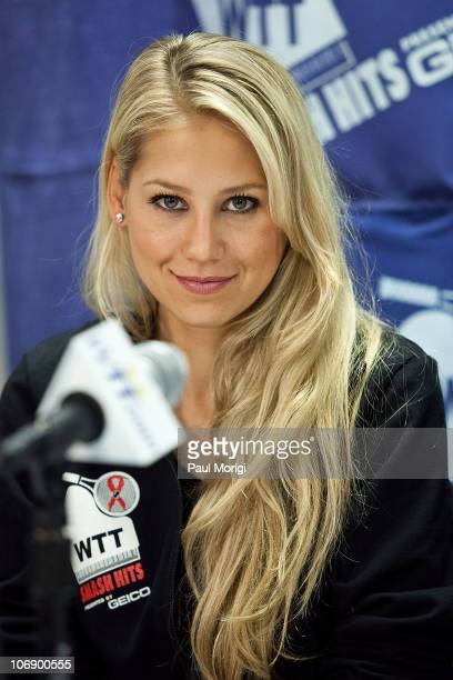 Anna Kournikova attends a press conference at the 18th annual World Team Tennis Smash Hits benefiting the Elton John AIDS Foundation at Bender Arena...
