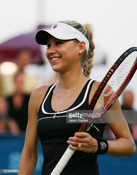 Anna Kournikova attends the St. Louis Aces Vs Newport Beach Breakers match at the Dwight Davis Tennis Center on July 17, 2010 in St Louis, Missouri.