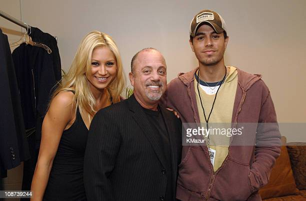 Anna Kournikova Billy Joel and Enrique Iglesias during Billy Joel Solo Tour Opener Backstage January 7 2006 at Bank Atlantic Center in Fort...