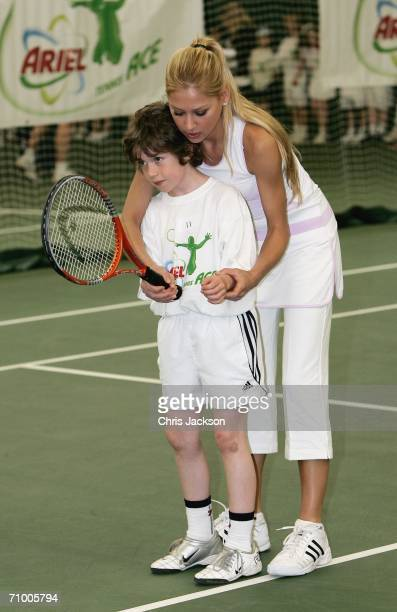 Anna Kournikova coaches Harry Price who has made it through to the final from five regional heatsat the Ariel Tennis ACE Finals Day on May 22 2006 in...