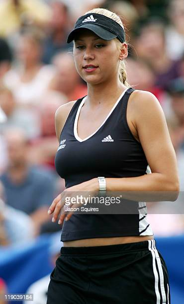 Anna Kournikova during Anna Kournikova joins the Kansas City Explorers for World Team Tennis at Plaza Tennis Center in Kansas City Missouri United...