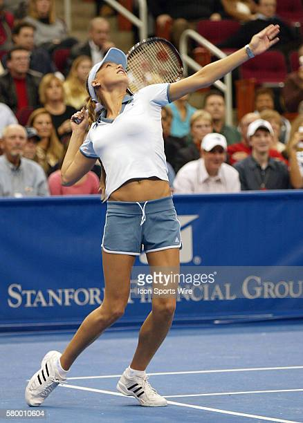 Anna Kournikova during the Serving for Tsunami Relief tennis match at Toyota Center in Houston Texas Tennis Champion's Jim Courier John McEnroe Chris...