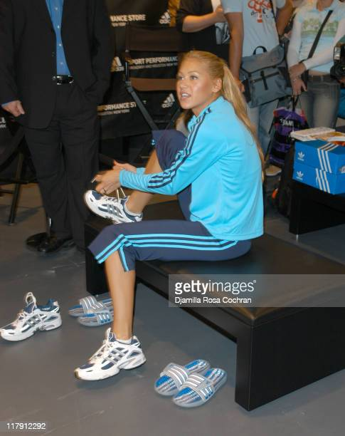 Anna Kournikova gets fitted for her custom Adidas running shoes
