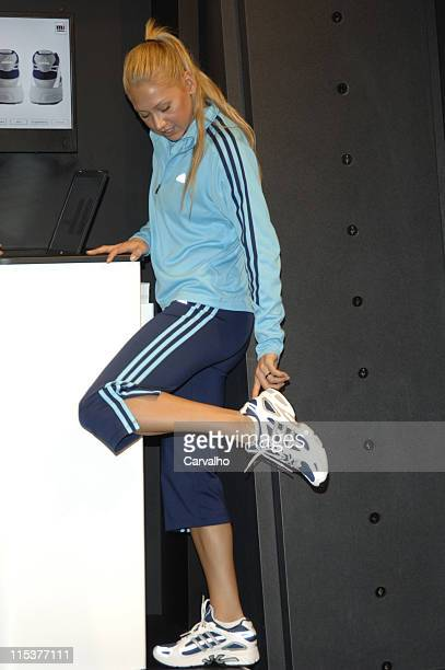 Anna Kournikova gets fitted for her custom Adidas sneakers