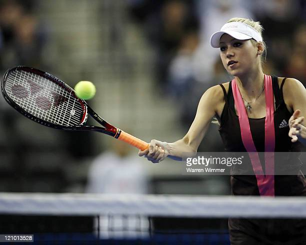 Anna Kournikova, heart throb of many a male tennis fan, in exhibition play at the Mercedes Benz Classic Tennis Tour at Chicago's newest sports venue,...