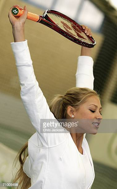Anna Kournikova limbers up before the Ariel Tennis ACE Finals Day on May 22 2006 in London England Anna Kournikova has teamed up with Tim Henman and...