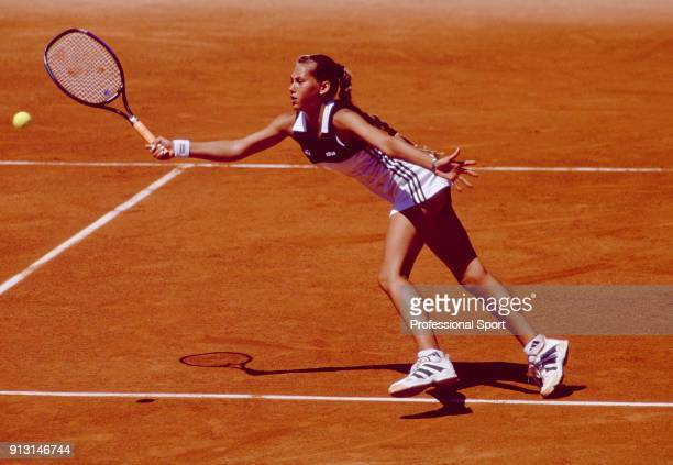 Anna Kournikova of Russia in action during the French Open Tennis Championships at the Stade Roland Garros circa May 1997 in Paris France