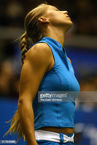 Anna Kournikova of Russia reacts in her singles semi final match against Monica Seles of the United States during day five of the Toray Pan Pacific...