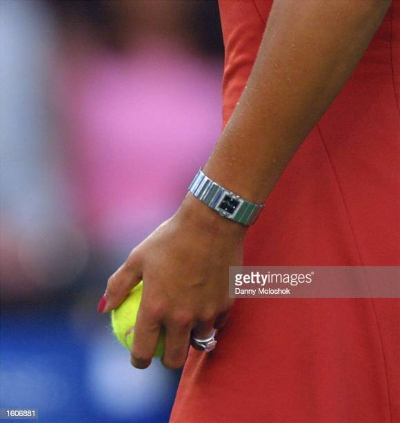 Anna Kournikova plays a tennis match with a large diamond ring on her left ring finger along with another ring July 31 2001 at the Acura Classic at...