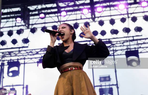 Anna Kova performs on the 2nd stage during day 2 of the North Summer Festival at Pierre Mauroy Stadium on June 25 2017 in Lille France