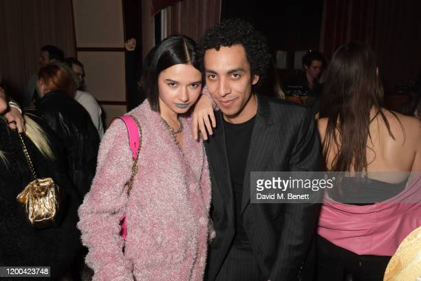 Anna Kuprienko of Bloom Twins and Twiggy Garcia attend the NME Awards after party in association with Copper Dog at The Standard on February 12 2020...
