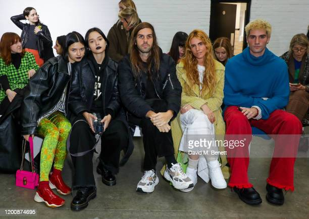 Anna Kuprienko Sonia Kuprienko Guest Blanca Miró Scrimieri and Guest attend the Marques'Almeida show during London Fashion Week February 2020 at The...