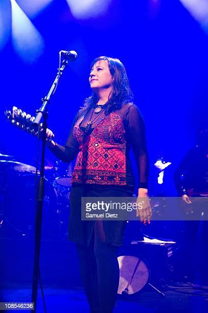 Anna LaCazio of Cock Robin performs live at Elysee Montmartre on January 29 2011 in Paris France
