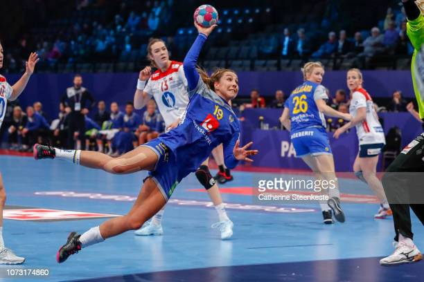 Anna Lagerquist of Sweden shoots on target during the EHF Euro match for the classification 56 between Sweden and Norway at AccorHotels Arena on...