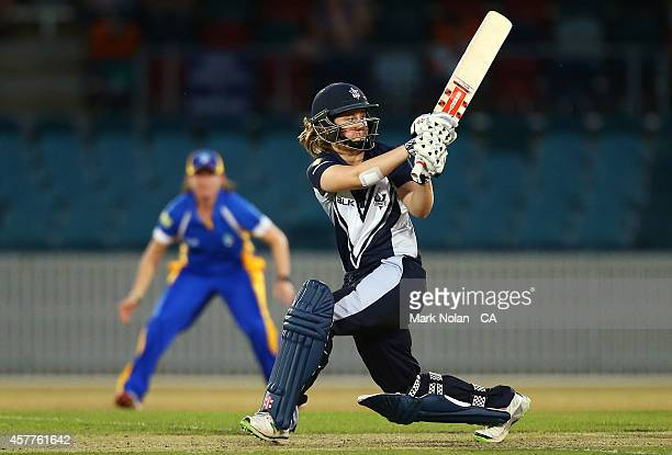 Anna Lanning of the Spirit bats during the women's T20 match between the ACT and Victoria at Manuka Oval on October 24 2014 in Canberra Australia