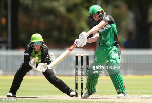 Anna Lanning of the Stars bats during the Women's Big Bash League match between the Melbourne Stars and the Sydney Thunder at Horwall Oval on...