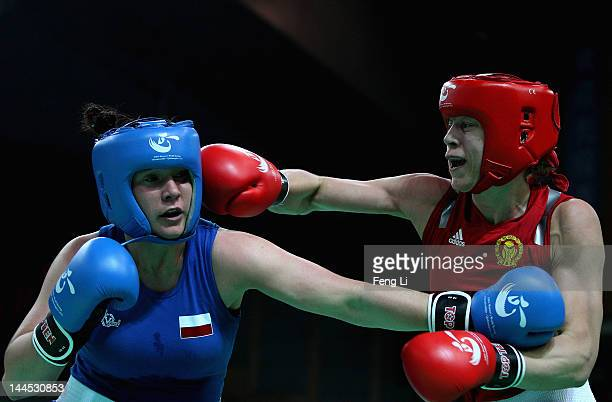 Anna Laurell of Sweden fights against Lidiia Fidura of Poland in the Women's 75kg preliminary match during the AIBA Women's World Boxing...