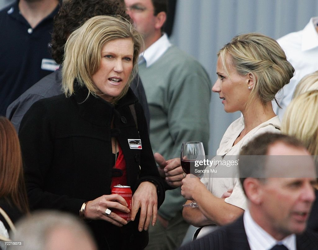 Anna Lawrence talks with Mandy Barker, wife of Team New Zealand skipper Dean Barker, during the Team New Zealand America's Cup boat launch at Viaduct Harbour on October 19, 2006 in Auckland, New Zealand.