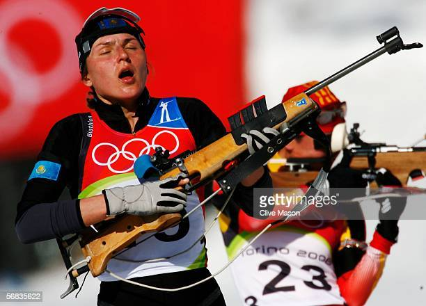 Anna Lebedeva of Kazakstan takes a deep breath before shooting in the Womens Biathlon 15km Individual Final on Day 3 of the 2006 Turin Winter Olympic...