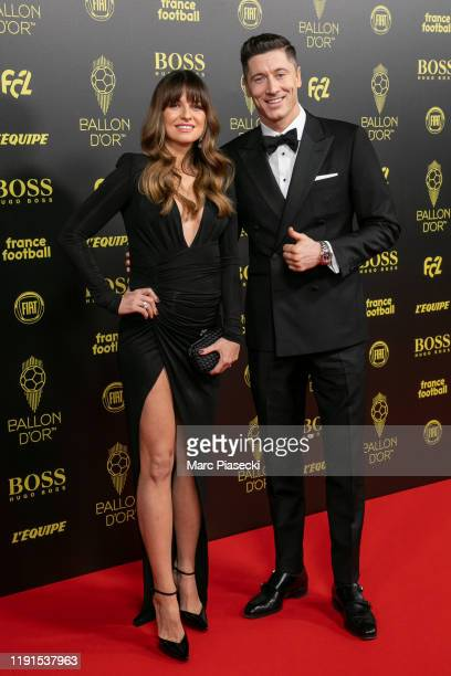 Anna Lewandowska and Robert Lewandowski attend the photocall during the Ballon D'Or Ceremony at Theatre Du Chatelet on December 02, 2019 in Paris,...