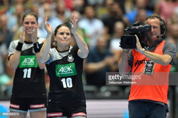 Anna Loerper of Germany applauds during the Women's handball International friendly match between Germany and Poland at Olympiahalle on June 6 2018...
