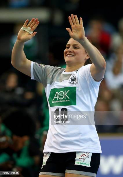 Anna Loerper of Germany celebrates after scoring a goal during the IHF Women's Handball World Championship group D match between Germany and Cameroon...