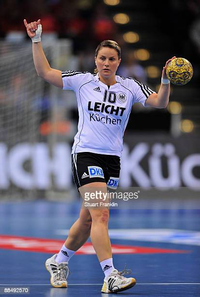 Anna Loerper of Germany during the Women's Handball World Championship qualification game between Germany and Serbia at the Color line arena on June...