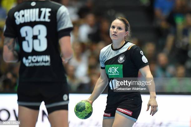 Anna Loerper of Germany looks on during the Women's handball International friendly match between Germany and Poland at Olympiahalle on June 6 2018...
