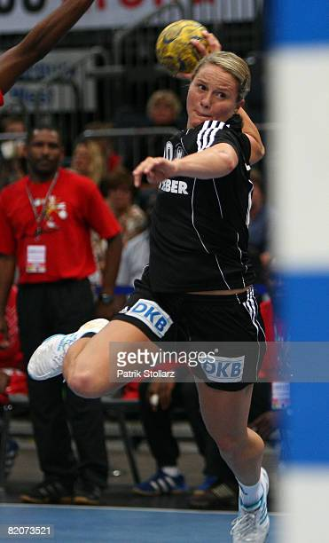Anna Loerper of Germany plays the ball during the women's international friendly handball match between Germany and Angola at the Lanxess arena on...