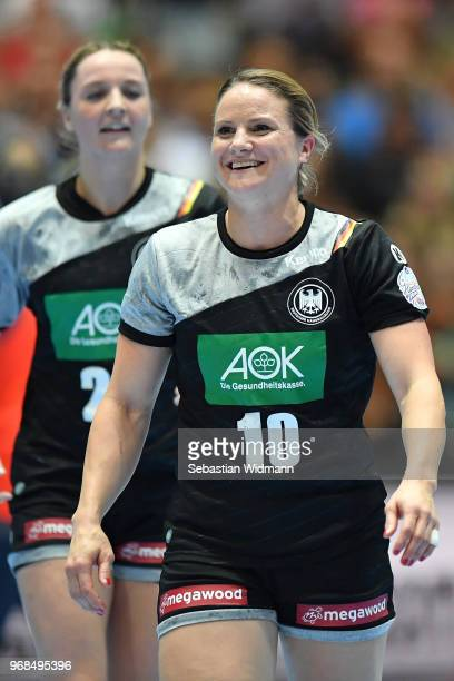 Anna Loerper of Germany smiles during the Women's handball International friendly match between Germany and Poland at Olympiahalle on June 6 2018 in...