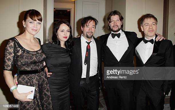 Anna Loos-Liefers, Josephine Garvey, Jan Josef Liefers, Rea Garvey and Michael Mittermeier attend the Cinema for Peace Gala at the Konzerthaus Am...