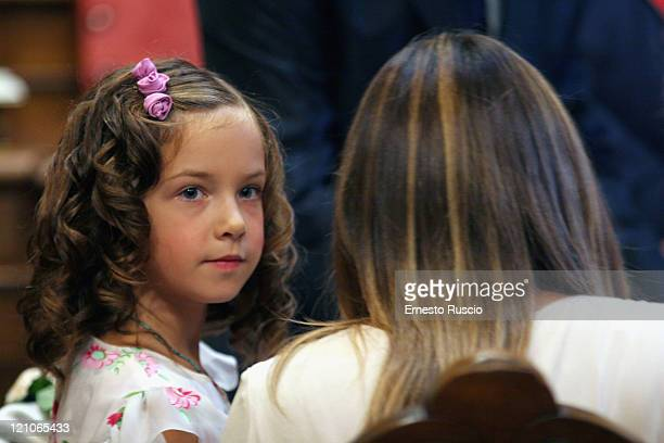 Anna Lou daughter of Asia Argento and Marco Castoldi attends the wedding of Asia Argento and Michele Civetta/ gets married>> on August 27 2008 in...