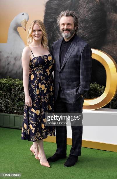 Anna Lundberg and Michael Sheen attend the Premiere of Universal Pictures' Dolittle at Regency Village Theatre on January 11 2020 in Westwood...