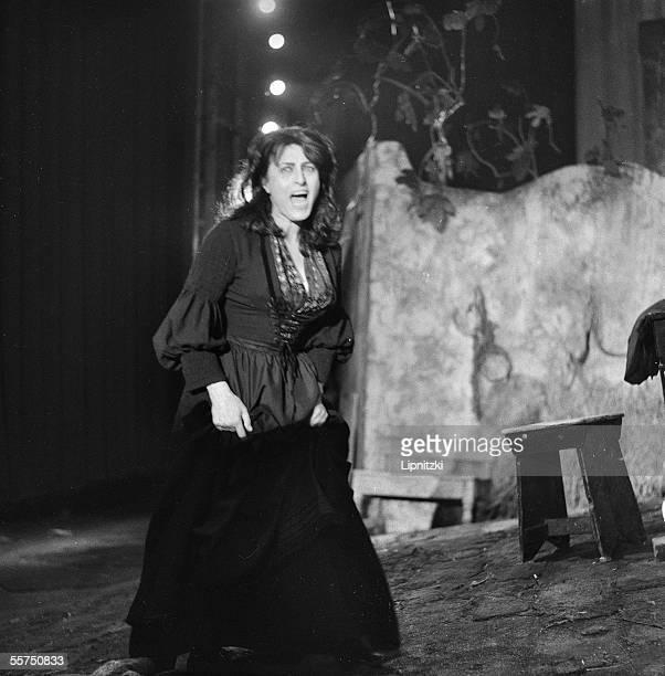 Anna Magnani Italian actress in La Louve of Giovanni Verga Production by Franco Zeffirelli Paris theatre of Nations june 1965