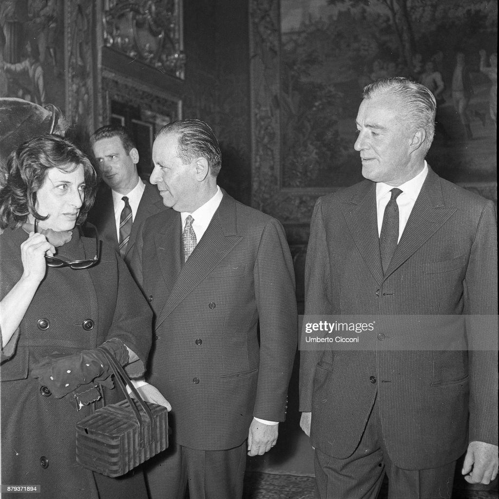 Anna Magnani, Vittorio De Sica and Gino Sotis at the Quirinal Palace in Rome 1958.
