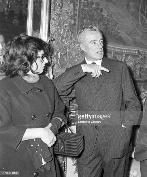 Anna Magnani with Italian director and actor Vittorio De Sica Rome 1959