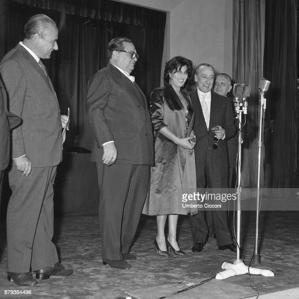 Anna Magnani with Totò Aldo Fabrizi and Mario Riva at the'Casina delle Rose' for the Italian film award Nastri D'Argento Rome 1953