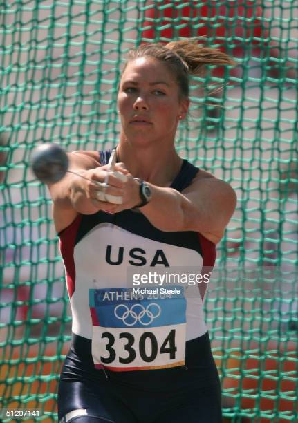 Anna Mahon of USA competes in the women's hammer throw qualifying round on August 23, 2004 during the Athens 2004 Summer Olympic Games at the Olympic...