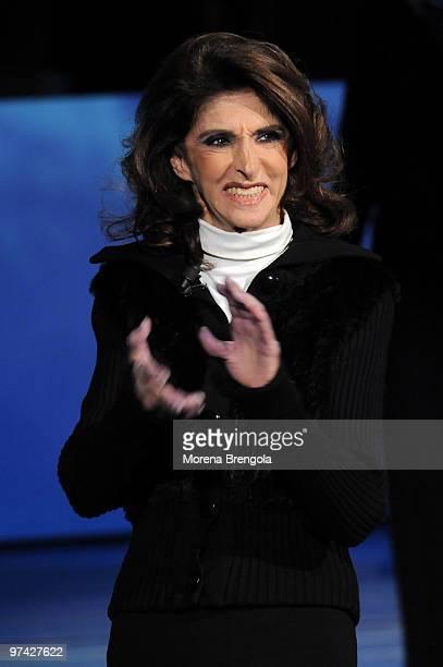Anna Marchesini during the Italian tv show Che tempo che fa on December 06 2008 in Milan Italy